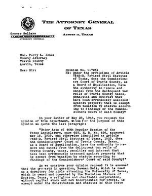 Primary view of object titled 'Texas Attorney General Opinion: O-7251'.