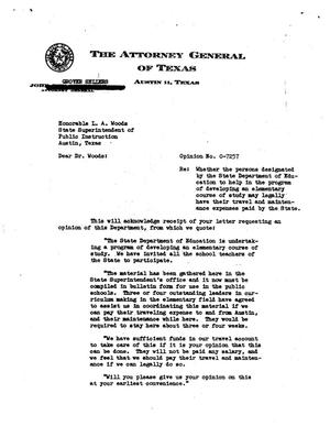 Primary view of object titled 'Texas Attorney General Opinion: O-7257'.