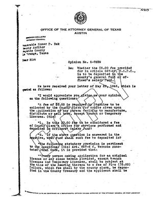 Primary view of object titled 'Texas Attorney General Opinion: O-7259'.