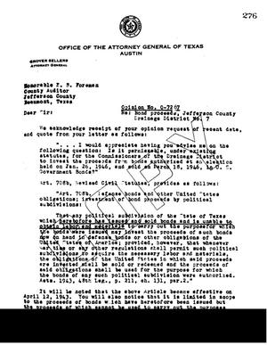 Primary view of object titled 'Texas Attorney General Opinion: O-7267'.