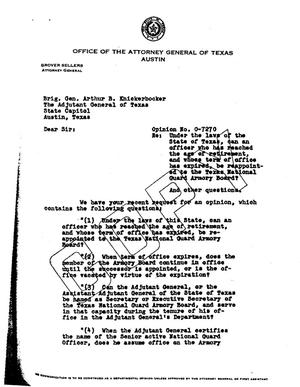 Primary view of object titled 'Texas Attorney General Opinion: O-7270'.
