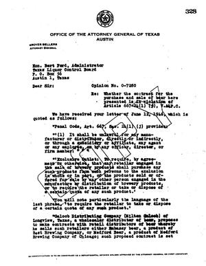 Primary view of object titled 'Texas Attorney General Opinion: O-7280'.