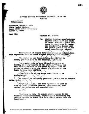 Primary view of object titled 'Texas Attorney General Opinion: O-7284'.