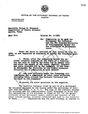 Primary view of object titled 'Texas Attorney General Opinion: O-7287'.