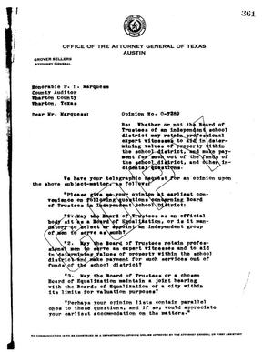 Primary view of object titled 'Texas Attorney General Opinion: O-7289'.