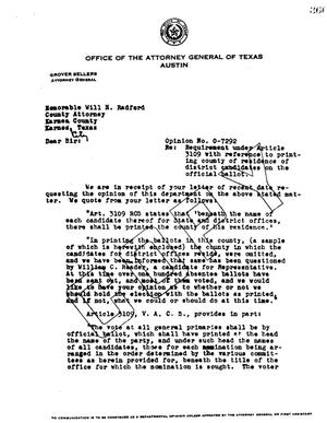 Primary view of object titled 'Texas Attorney General Opinion: O-7292'.