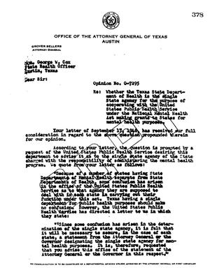 Primary view of object titled 'Texas Attorney General Opinion: O-7295'.