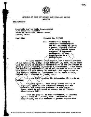 Primary view of object titled 'Texas Attorney General Opinion: O-7302'.