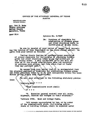 Primary view of object titled 'Texas Attorney General Opinion: O-7307'.
