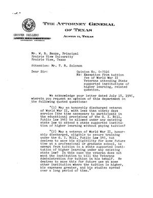 Primary view of object titled 'Texas Attorney General Opinion: O-7316'.