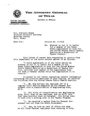 Primary view of object titled 'Texas Attorney General Opinion: O-7318'.