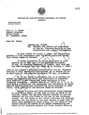 Primary view of object titled 'Texas Attorney General Opinion: O-7331'.