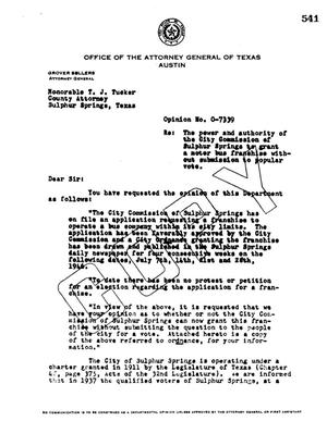 Primary view of object titled 'Texas Attorney General Opinion: O-7339'.