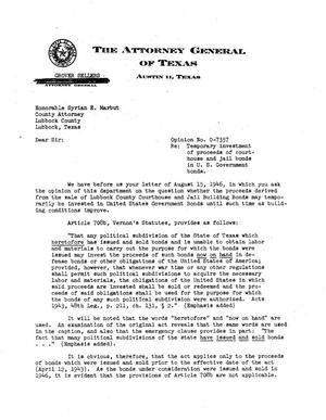 Primary view of object titled 'Texas Attorney General Opinion: O-7357'.