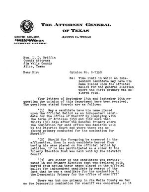 Primary view of object titled 'Texas Attorney General Opinion: O-7358'.