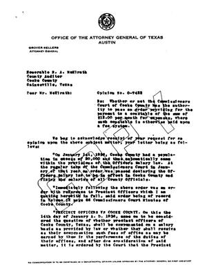 Primary view of object titled 'Texas Attorney General Opinion: O-7422'.