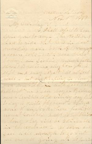 Primary view of object titled 'Letter to Cromwell Anson Jones, 1 November 1879'.