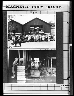 Primary view of object titled '[Apple Growers and the Apple Shed]'.