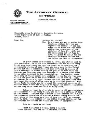 Primary view of object titled 'Texas Attorney General Opinion: O-7496'.