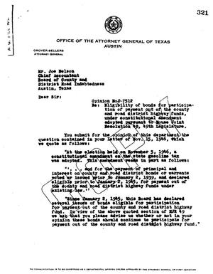 Primary view of object titled 'Texas Attorney General Opinion: O-7512'.