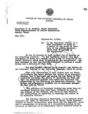 Primary view of object titled 'Texas Attorney General Opinion: O-7514'.