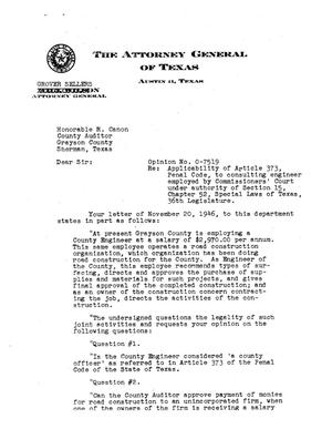 Primary view of object titled 'Texas Attorney General Opinion: O-7519'.