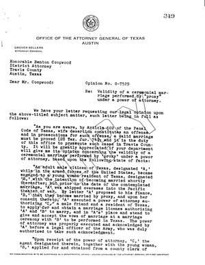 Primary view of object titled 'Texas Attorney General Opinion: O-7529'.