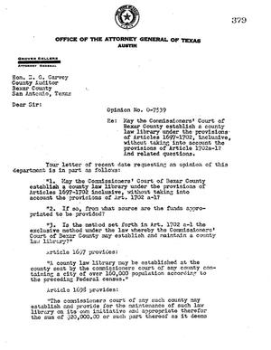 Primary view of object titled 'Texas Attorney General Opinion: O-7539'.
