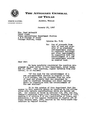 Primary view of object titled 'Texas Attorney General Opinion: V-01'.