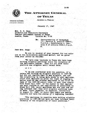 Primary view of object titled 'Texas Attorney General Opinion: V-06'.