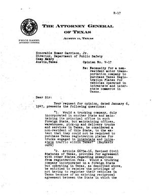 Primary view of object titled 'Texas Attorney General Opinion: V-17'.