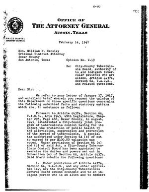 Primary view of object titled 'Texas Attorney General Opinion: V-19'.