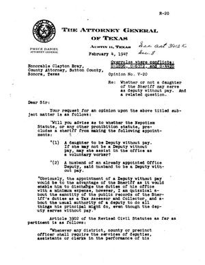Primary view of object titled 'Texas Attorney General Opinion: V-20'.