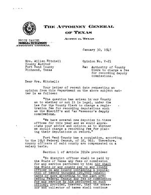 Primary view of object titled 'Texas Attorney General Opinion: V-21'.