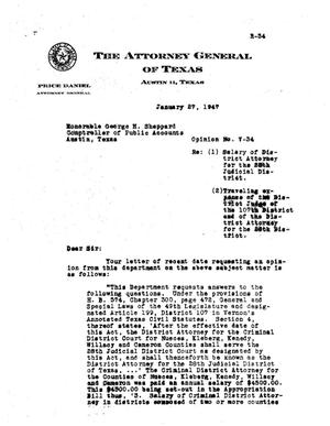 Primary view of object titled 'Texas Attorney General Opinion: V-34'.