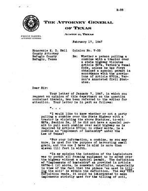 Primary view of object titled 'Texas Attorney General Opinion: V-35'.