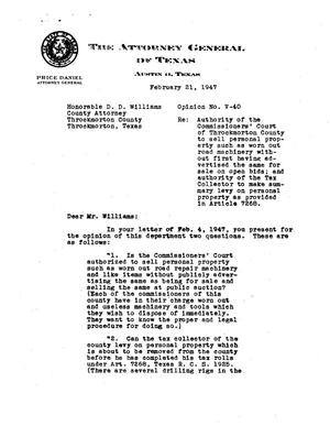 Primary view of object titled 'Texas Attorney General Opinion: V-40'.