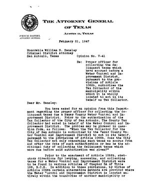Primary view of object titled 'Texas Attorney General Opinion: V-41'.