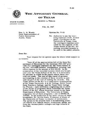 Primary view of object titled 'Texas Attorney General Opinion: V-50'.