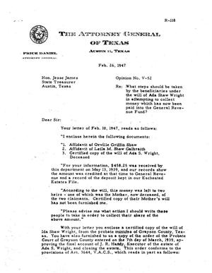 Primary view of object titled 'Texas Attorney General Opinion: V-52'.
