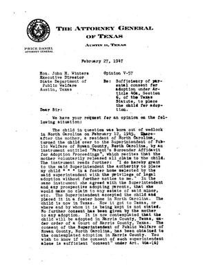 Primary view of object titled 'Texas Attorney General Opinion: V-57'.
