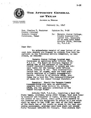 Primary view of object titled 'Texas Attorney General Opinion: V-58'.