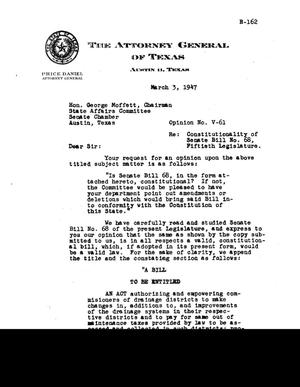 Primary view of object titled 'Texas Attorney General Opinion: V-61'.