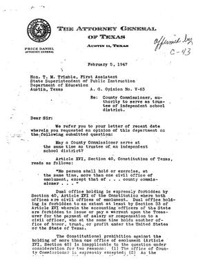 Primary view of object titled 'Texas Attorney General Opinion: V-63'.