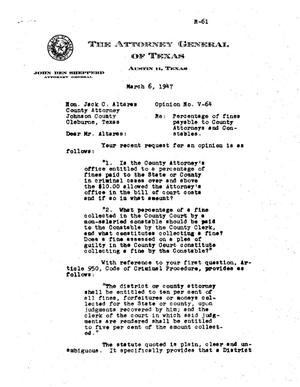 Primary view of object titled 'Texas Attorney General Opinion: V-64'.