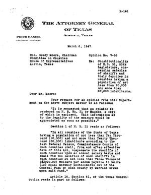 Primary view of object titled 'Texas Attorney General Opinion: V-68'.