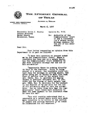 Primary view of object titled 'Texas Attorney General Opinion: V-71'.