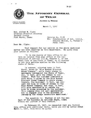 Primary view of object titled 'Texas Attorney General Opinion: V-76'.