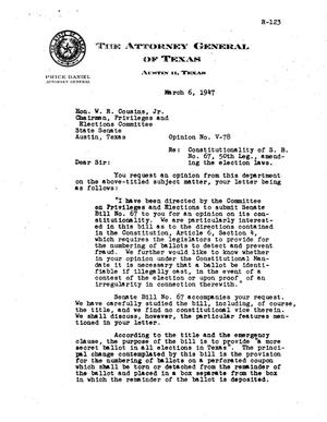 Primary view of object titled 'Texas Attorney General Opinion: V-78'.