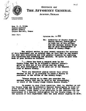 Primary view of object titled 'Texas Attorney General Opinion: V-80'.